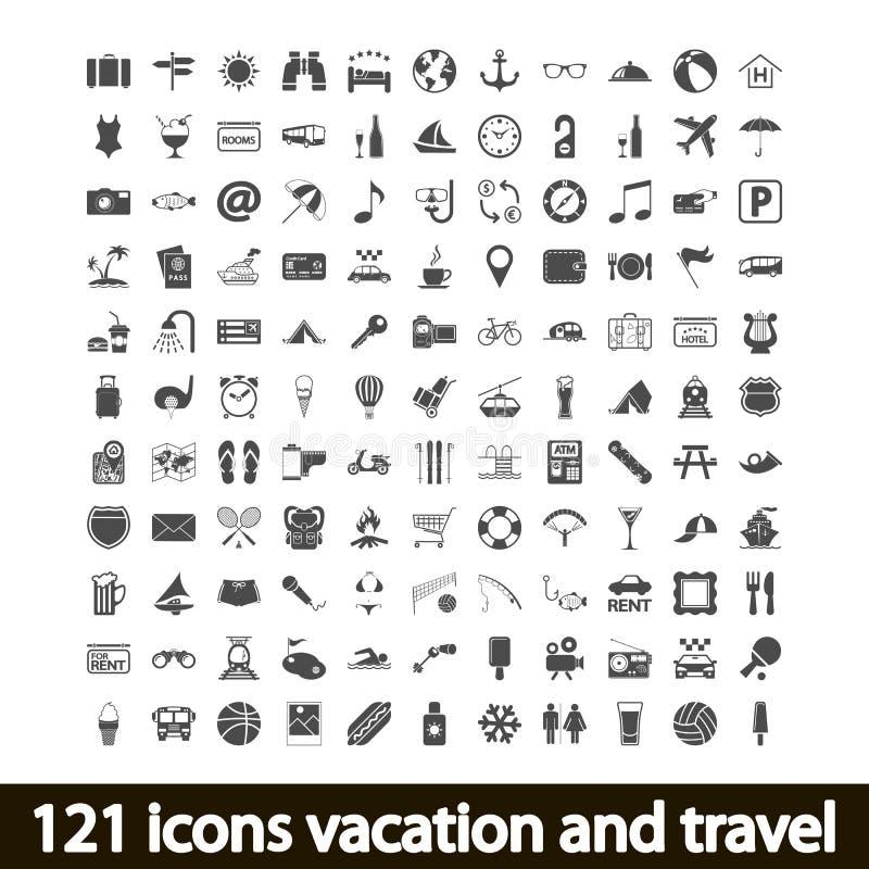 διακοπές και ταξίδι 121 εικονιδίων απεικόνιση αποθεμάτων