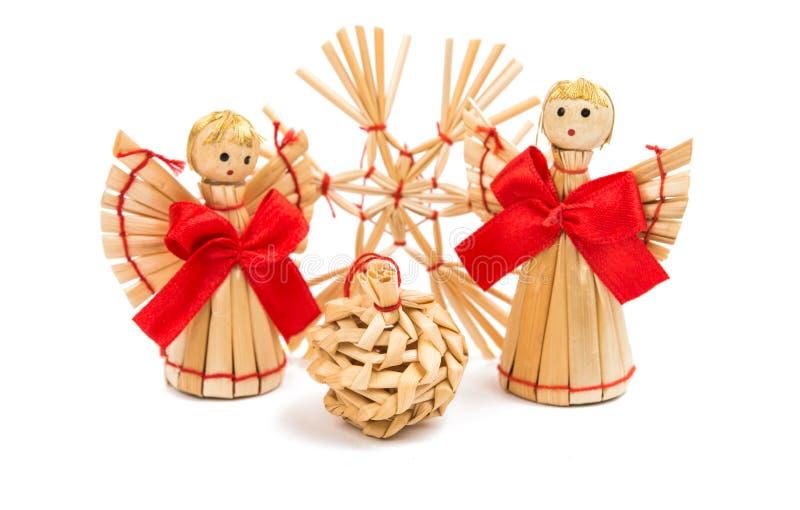 διακοσμήσεις Χριστουγέννων αχύρου στοκ εικόνα με δικαίωμα ελεύθερης χρήσης
