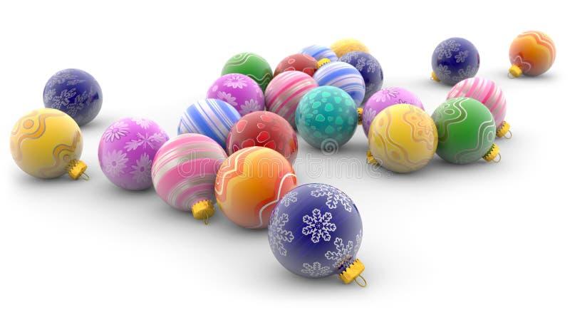 διακοσμήσεις Χριστουγέννων κλάδων κιβωτίων σφαιρών handbell ελεύθερη απεικόνιση δικαιώματος