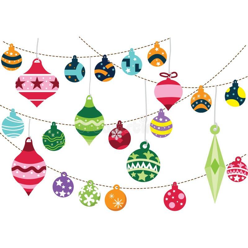 διακοσμήσεις Χριστουγέννων κλάδων κιβωτίων σφαιρών handbell απεικόνιση αποθεμάτων