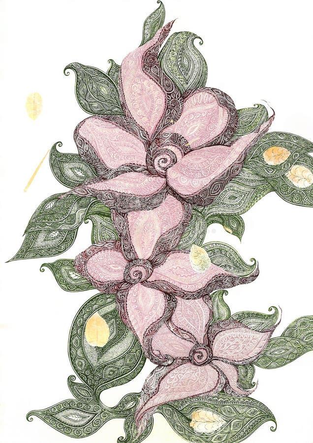 διακοσμητικό ροζ λουλ&om διανυσματική απεικόνιση
