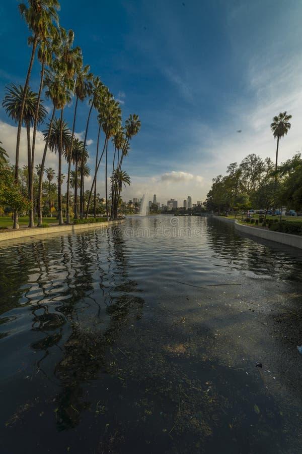 18 ΙΑΝΟΥΑΡΊΟΥ 2019 - ΑΝΤΗΧΗΣΤΕ το ΠΑΡΚΟ, ΛΟΣ ΑΝΤΖΕΛΕΣ, ασβέστιο, ΗΠΑ - λίμνη με τους φοίνικες στο πάρκο ηχούς, Λος Άντζελες, ασβέ στοκ εικόνα με δικαίωμα ελεύθερης χρήσης