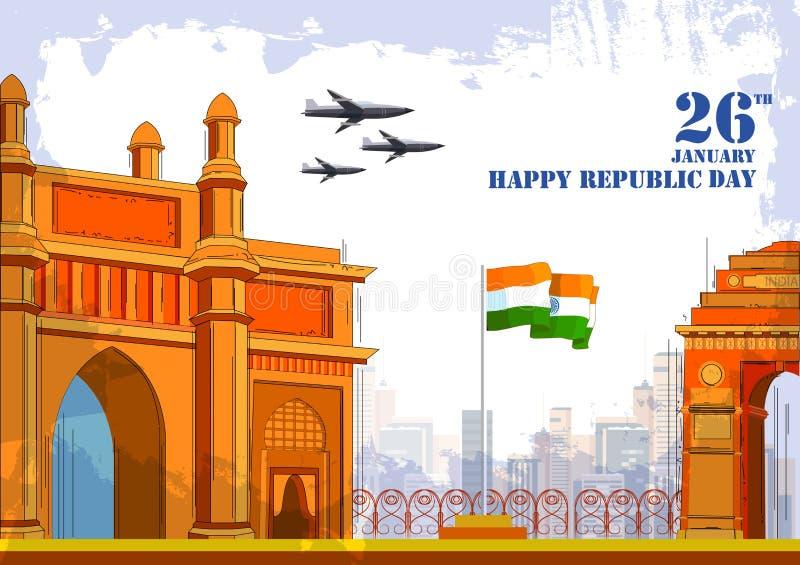 26 Ιανουαρίου ευτυχής ημέρα Δημοκρατίας του υποβάθρου της Ινδίας διανυσματική απεικόνιση