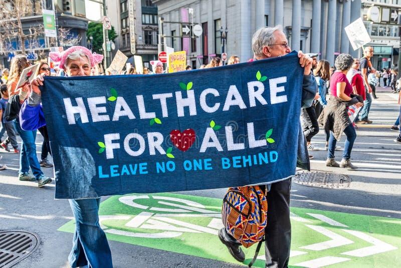 19 Ιανουαρίου 2019 Σαν Φρανσίσκο/ασβέστιο/ΗΠΑ - σημάδι γεγονότος Μαρτίου των γυναικών στοκ φωτογραφία με δικαίωμα ελεύθερης χρήσης