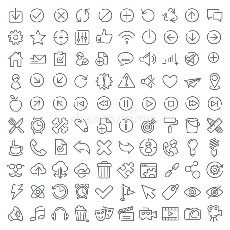 100 διανυσματικά εικονίδια καθορισμένα απεικόνιση αποθεμάτων