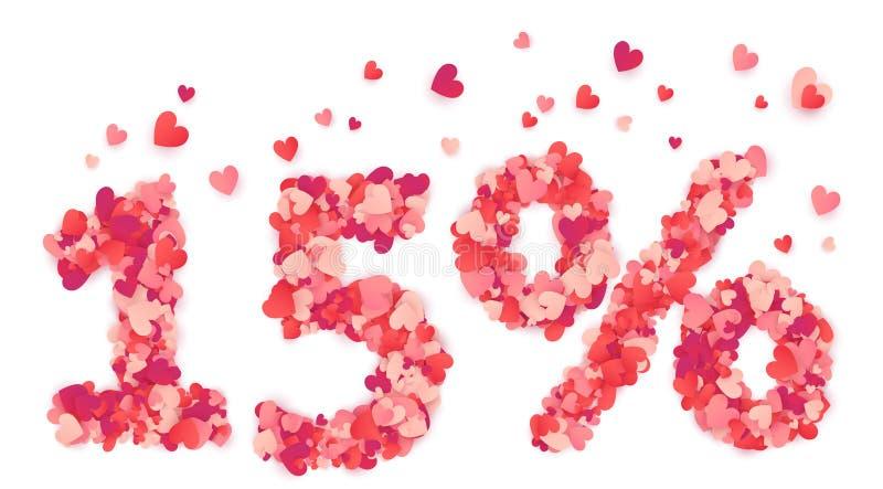 διανυσματικός αριθμός 15 τοις εκατό που γίνεται από τις ρόδινες και κόκκινες καρδιές κομφετί ελεύθερη απεικόνιση δικαιώματος