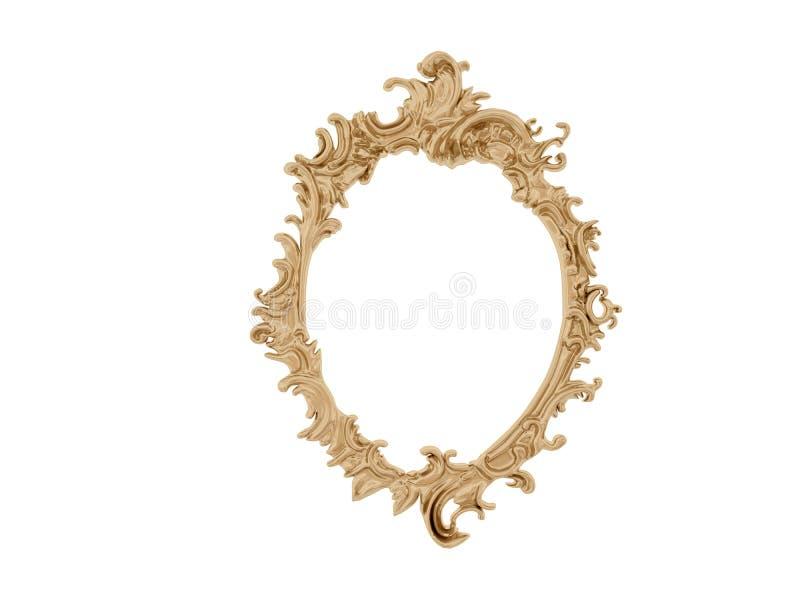 διανυσματικός τρύγος απεικόνισης πλαισίων χρυσός Απομονώστε τον καθρέφτη Αναδρομικό στοιχείο σχεδίου φυσική ρεαλιστική αντανάκλασ στοκ φωτογραφία με δικαίωμα ελεύθερης χρήσης