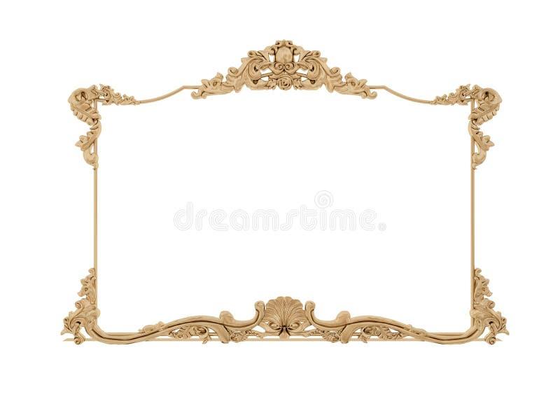 διανυσματικός τρύγος απεικόνισης πλαισίων χρυσός Απομονώστε τον καθρέφτη Αναδρομικό στοιχείο σχεδίου φυσική ρεαλιστική αντανάκλασ στοκ φωτογραφίες