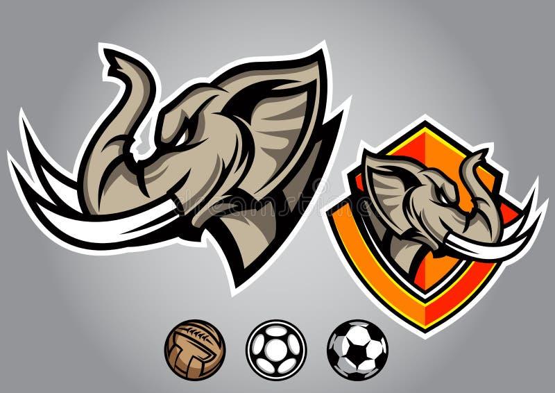 διανυσματικό έμβλημα λογότυπων ποδοσφαίρου ελεφάντων επικεφαλής απεικόνιση αποθεμάτων
