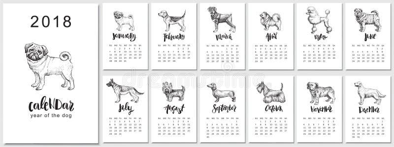 διανυσματικό ημερολογιακό σχέδιο του 2018 με τις φυλές σκυλιών Συρμένα χέρι llustrations και καλλιγραφία απεικόνιση αποθεμάτων