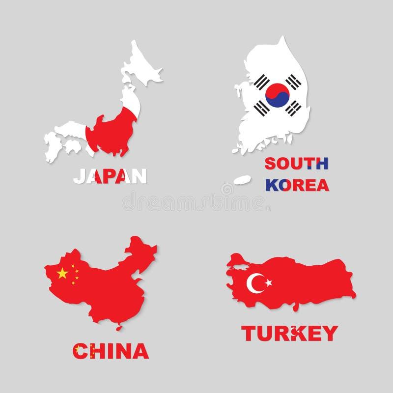 Ιαπωνία, Νότια Κορέα, Κίνα, Τουρκία διανυσματική απεικόνιση