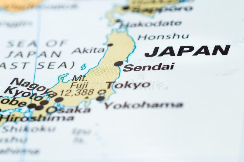 Ιαπωνία σε έναν χάρτη στοκ εικόνα