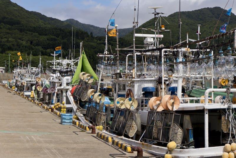 Ιαπωνικά αλιευτικά σκάφη καλαμαριών στοκ εικόνα με δικαίωμα ελεύθερης χρήσης