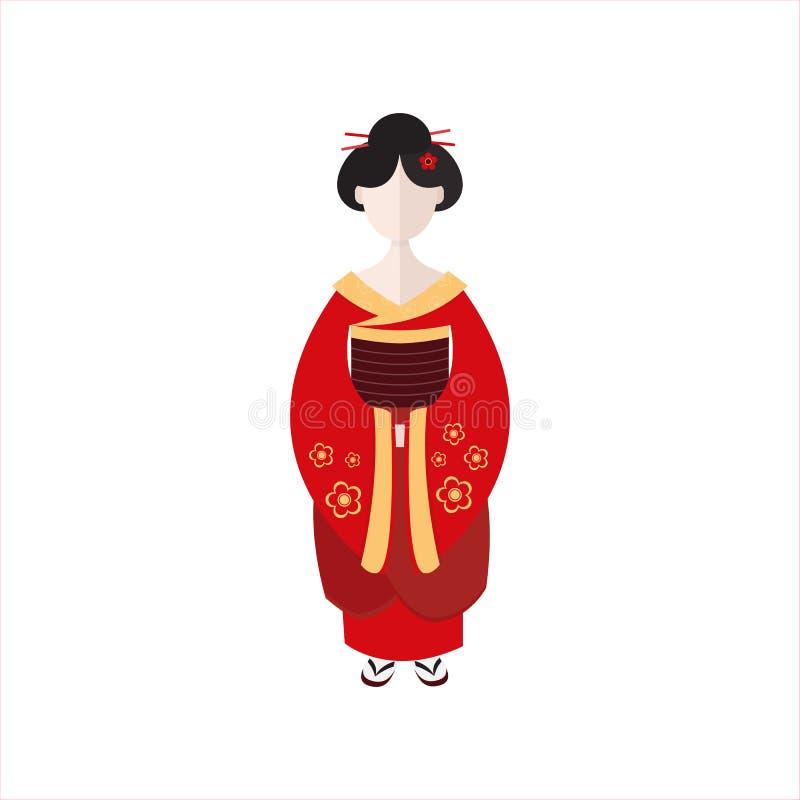 Ιαπωνικά γκέισα στην επίπεδη διανυσματική απεικόνιση κιμονό διανυσματική απεικόνιση