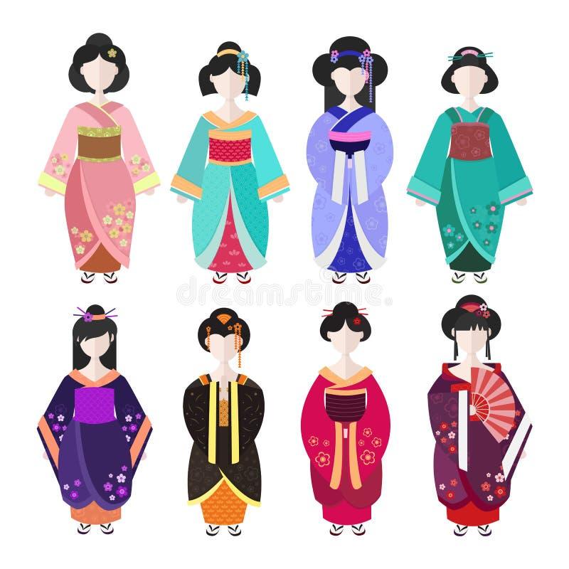 Ιαπωνικά γκέισα στο κιμονό απεικόνιση αποθεμάτων