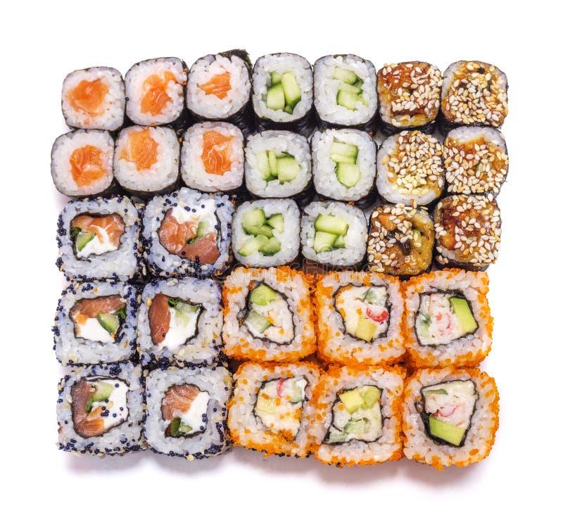 Ιαπωνικά τρόφιμα Διαφορετικοί ρόλοι καθορισμένοι στοκ εικόνα με δικαίωμα ελεύθερης χρήσης