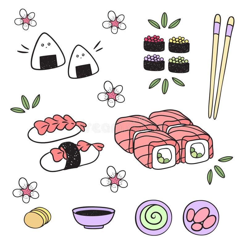 Ιαπωνικά τρόφιμα: σούσια, ρόλοι, onigiri, ορεκτικό, σάλτσα στοιχεία απεικόνιση αποθεμάτων