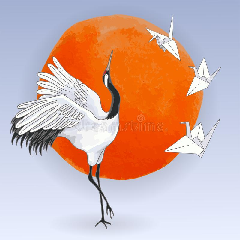 Ιαπωνικά χορεύοντας πουλιά γερανών και εγγράφου πέρα από το ηλιοβασίλεμα απεικόνιση αποθεμάτων