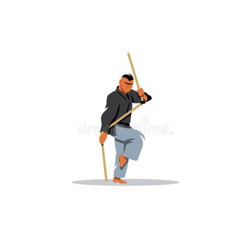 Ιαπωνικές πολεμικές τέχνες Kobudo επίσης corel σύρετε το διάνυσμα απεικόνισης απεικόνιση αποθεμάτων