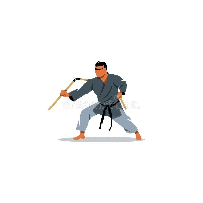 Ιαπωνικές πολεμικές τέχνες Kobudo επίσης corel σύρετε το διάνυσμα απεικόνισης διανυσματική απεικόνιση