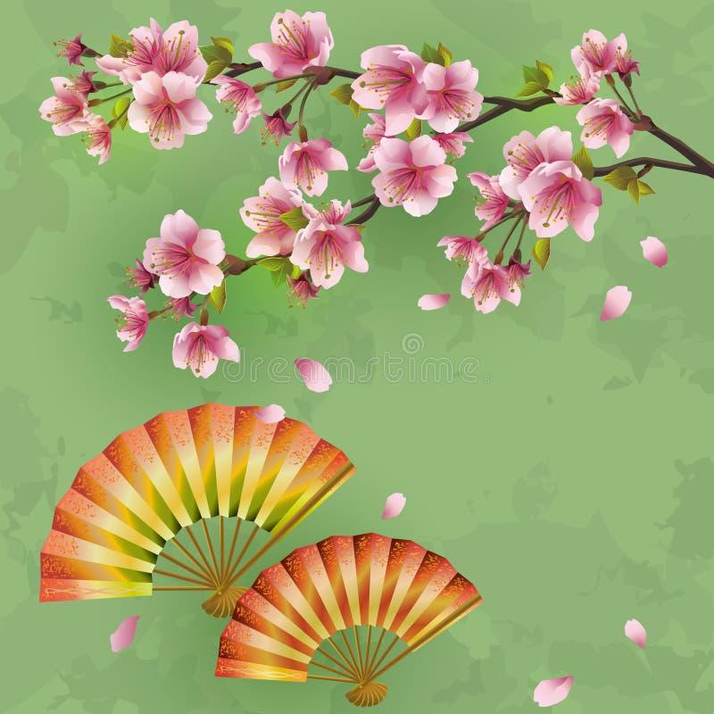 Ιαπωνική ανασκόπηση με το sakura και τους ανεμιστήρες διανυσματική απεικόνιση