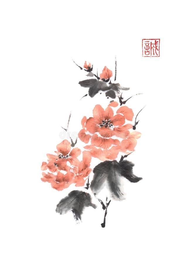 Ιαπωνική ζωγραφική μελανιού ύφους sumi-ε ρόδινη peony απεικόνιση αποθεμάτων