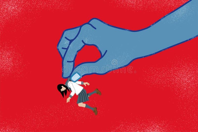 Ιαπωνική μαθήτρια που τσιμπιέται από το τεράστιο χέρι - δύναμη Hara ελεύθερη απεικόνιση δικαιώματος