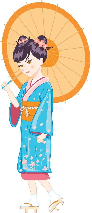 ιαπωνική ομπρέλα κοριτσιώ&n διανυσματική απεικόνιση