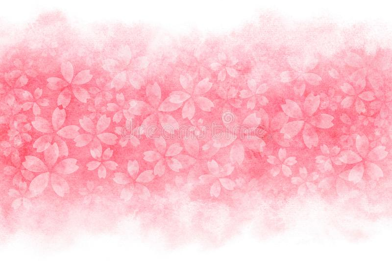 Ιαπωνική περίληψη ανθών κερασιών στο ρόδινο υπόβαθρο χρωμάτων watercolor απεικόνιση αποθεμάτων