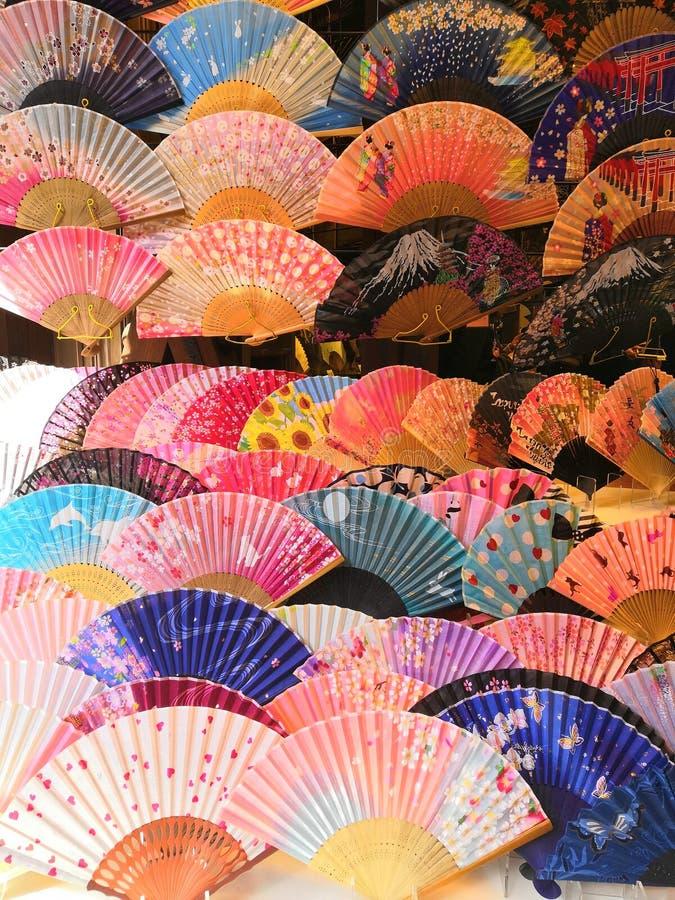 Ιαπωνική τέχνη πολιτισμού της Ιαπωνίας ανεμιστήρων ζωηρόχρωμη στοκ φωτογραφίες με δικαίωμα ελεύθερης χρήσης
