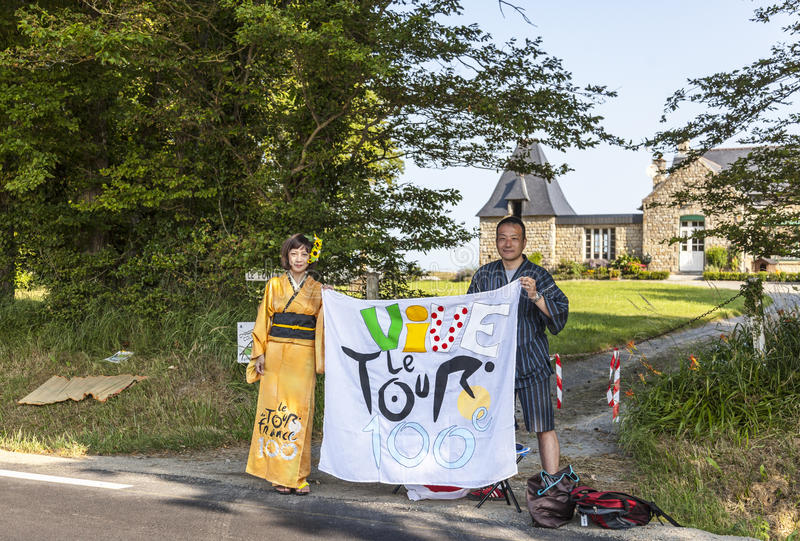 Ιαπωνικοί ανεμιστήρες LE Tour de Γαλλία στοκ εικόνες με δικαίωμα ελεύθερης χρήσης