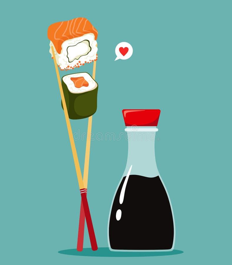 Ιαπωνικοί ρόλοι σουσιών με chopsticks και ένα μπουκάλι της σάλτσας σόγιας E απεικόνιση αποθεμάτων