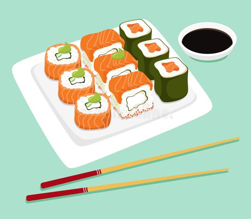 Ιαπωνικοί ρόλοι σουσιών σε ένα πιάτο με chopsticks και τη σάλτσα σόγιας Ιαπωνικά τρόφιμα r διανυσματική απεικόνιση