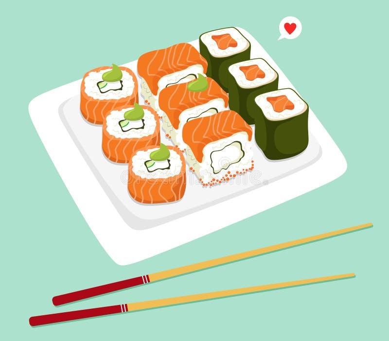Ιαπωνικοί ρόλοι σουσιών σε ένα πιάτο με chopsticks r διανυσματική απεικόνιση