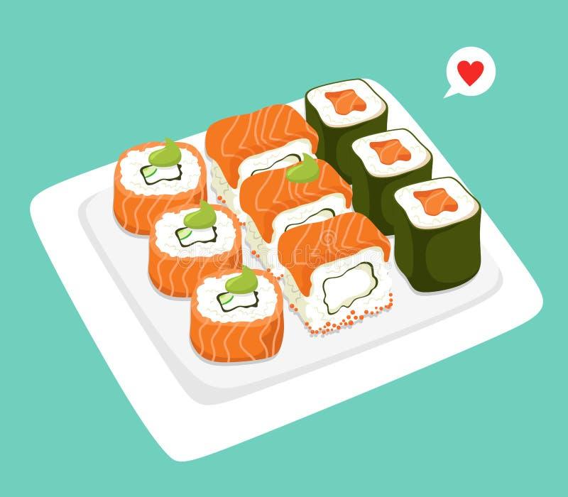 Ιαπωνικοί ρόλοι σουσιών σε ένα πιάτο r διανυσματική απεικόνιση