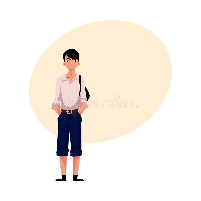 Ιαπωνικός εφηβικός μαθητής στο χαρακτηριστικά ομοιόμορφα φορώντας πουκάμισο και τα σορτς διανυσματική απεικόνιση