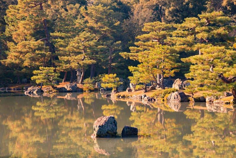 Ιαπωνικός κήπος αξίωσης με τη λίμνη νερού στοκ εικόνα με δικαίωμα ελεύθερης χρήσης