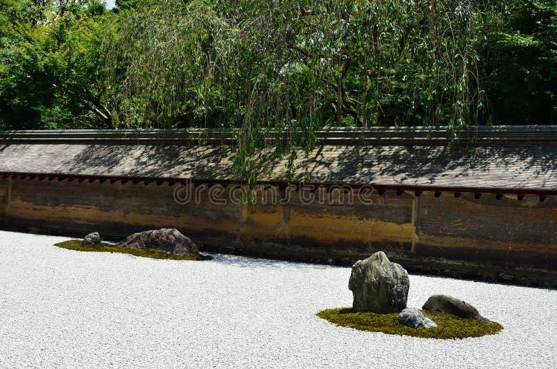 Ιαπωνικός κήπος βράχου της Zen, Κιότο στοκ φωτογραφία με δικαίωμα ελεύθερης χρήσης
