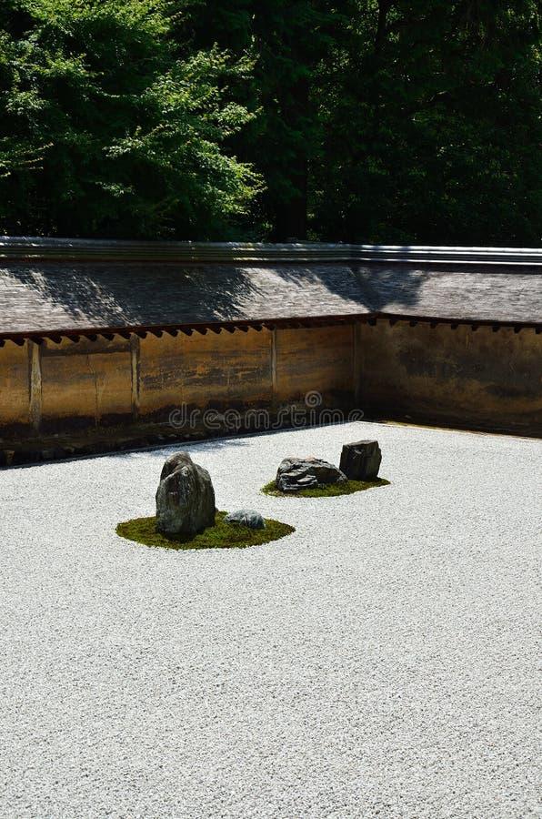 Ιαπωνικός κήπος βράχου της Zen, Κιότο στοκ εικόνα με δικαίωμα ελεύθερης χρήσης