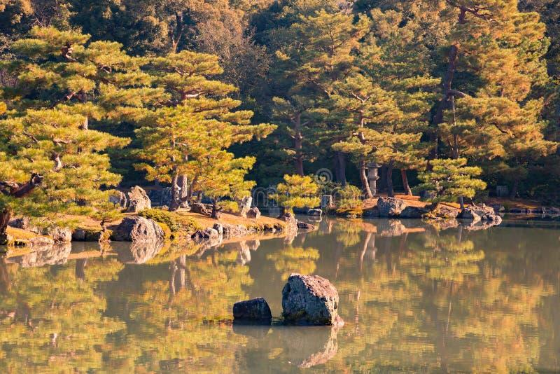 Ιαπωνικός κήπος πέρα από την αντανάκλαση λιμνών νερού στοκ φωτογραφία με δικαίωμα ελεύθερης χρήσης