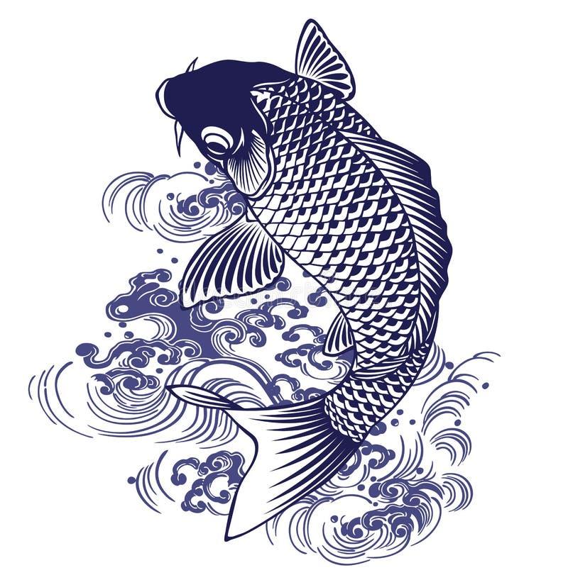 Ιαπωνικός κυπρίνος διανυσματική απεικόνιση