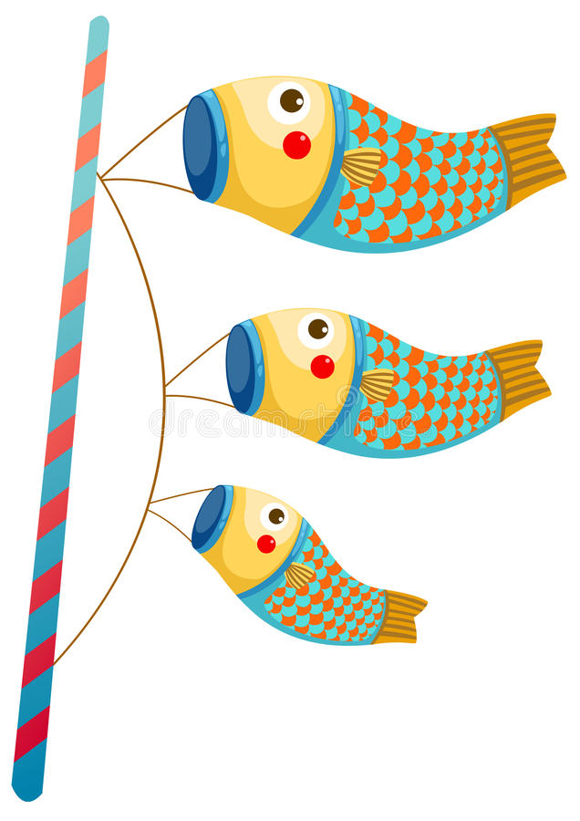 Ιαπωνικός κυπρίνος koi windsocks διανυσματική απεικόνιση