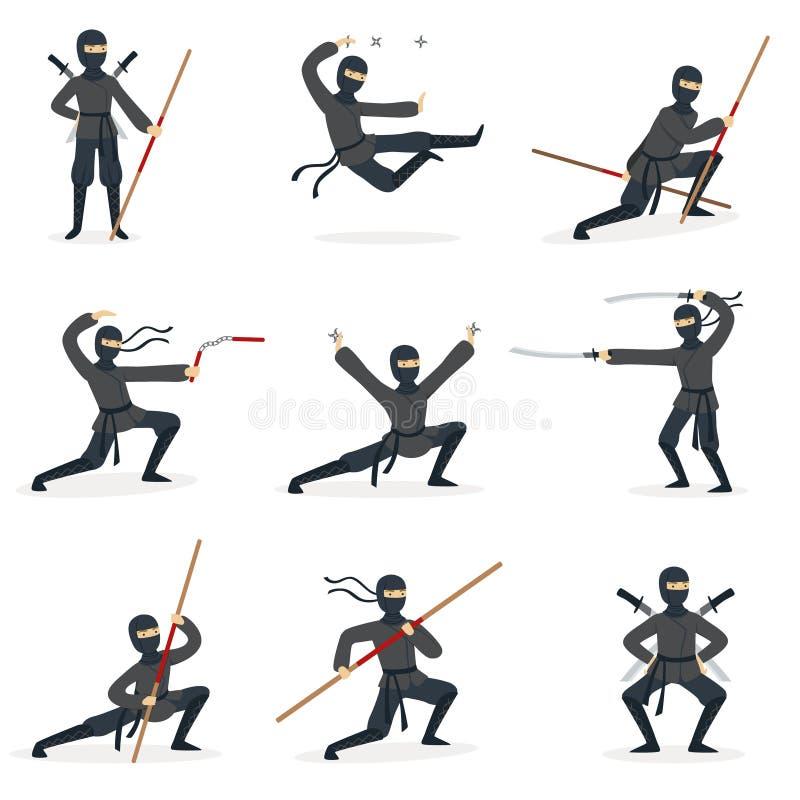 Ιαπωνικός δολοφόνος Ninja στο πλήρες μαύρο κοστούμι που εκτελεί τις στάσεις πολεμικών τεχνών Ninjitsu με το διαφορετικό σύνολο όπ διανυσματική απεικόνιση