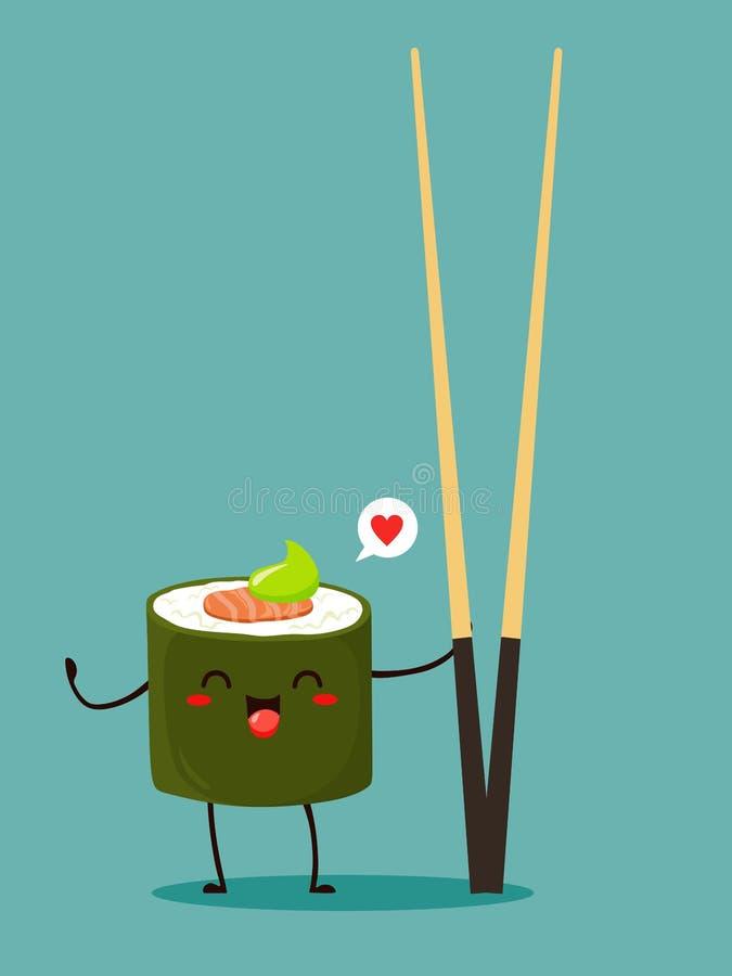 Ιαπωνικός ρόλος με chopsticks σε ένα kawaii ύφους κινούμενων σχεδίων Διανυσματικός απομονώστε στο τυρκουάζ υπόβαθρο διανυσματική απεικόνιση