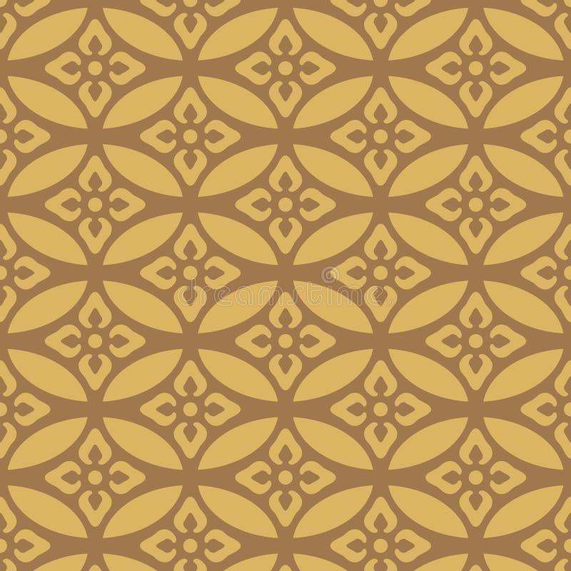 Ιαπωνικός χρυσός που επικαλύπτει το Floral ωοειδές σχέδιο διανυσματική απεικόνιση