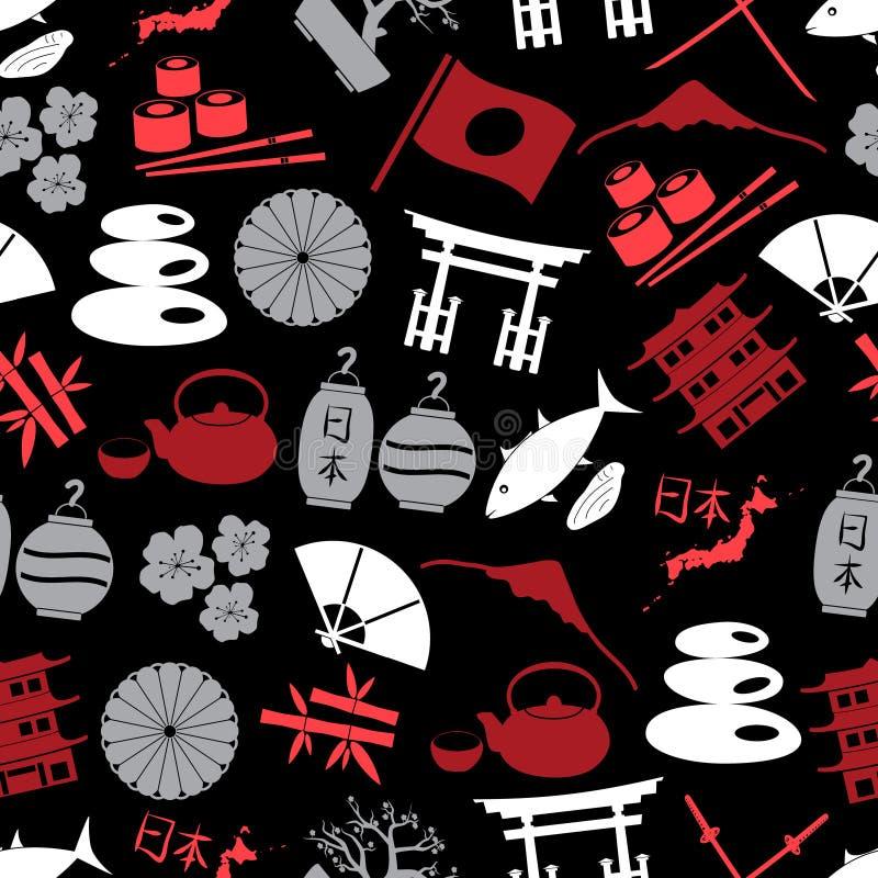 Ιαπωνικό άνευ ραφής σκοτεινό σχέδιο eps10 εικονιδίων χρώματος διανυσματική απεικόνιση