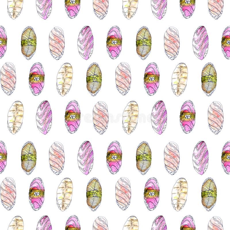 Ιαπωνικό άνευ ραφής σχέδιο σουσιών τροφίμων διανυσματική απεικόνιση