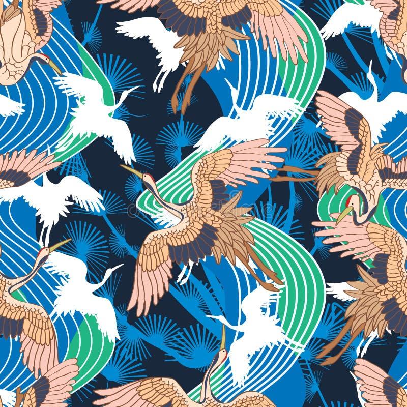 Ιαπωνικό άνευ ραφής σχέδιο κυμάτων γερανών διανυσματική απεικόνιση