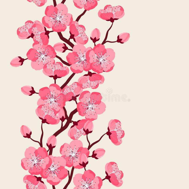 Ιαπωνικό άνευ ραφής σχέδιο sakura με τα τυποποιημένα λουλούδια Υπόβαθρο που γίνεται χωρίς ψαλίδισμα της μάσκας Εύχρηστος για το σ διανυσματική απεικόνιση