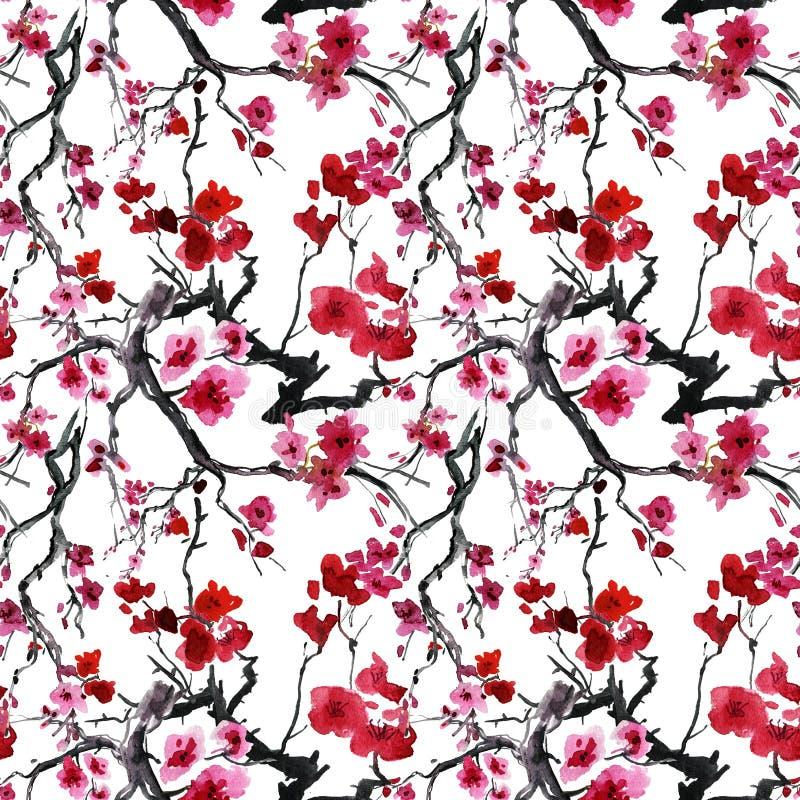Ιαπωνικό δέντρο κερασιών. άνευ ραφής υπόβαθρο. διανυσματική απεικόνιση